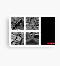 Gear, Bricks, Freestone wall and wheel handle Leinwanddruck