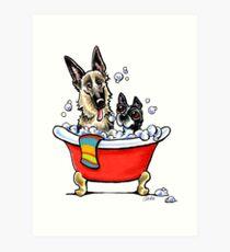 German Shepherd & Boston Terrier in the Bath Art Print