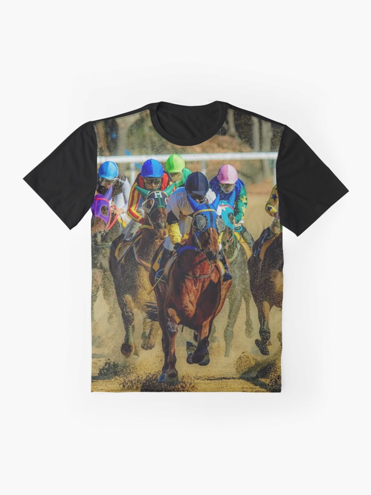 Alternate view of Colourful Horses racing sport graphic t shirt Graphic T-Shirt