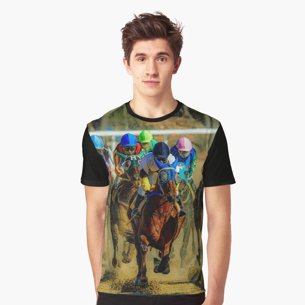 Colourful Horses racing sport graphic t shirt Graphic T-Shirt