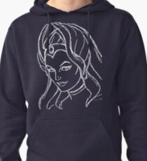She-Ra Princess of Power - Looking Left - White Line Art Pullover Hoodie