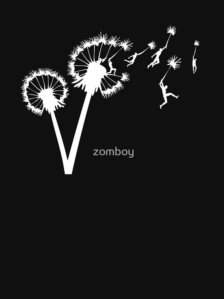 Dandylion Flight - white silhouette by zomboy
