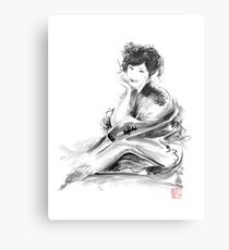 Geisha Geiko maiko young girl Kimono Japanese japan woman sumi-e original painting art print Metal Print