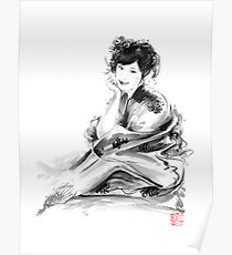 Geisha Geiko maiko young girl Kimono Japanese japan woman sumi-e original painting art print Poster