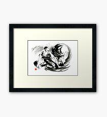 Aikido randori fight popular techniques martial arts sumi-e samurai ink painting artwork Gerahmtes Wandbild