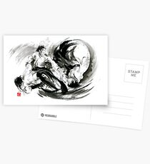 Aikido randori fight popular techniques martial arts sumi-e samurai ink painting artwork Postcards