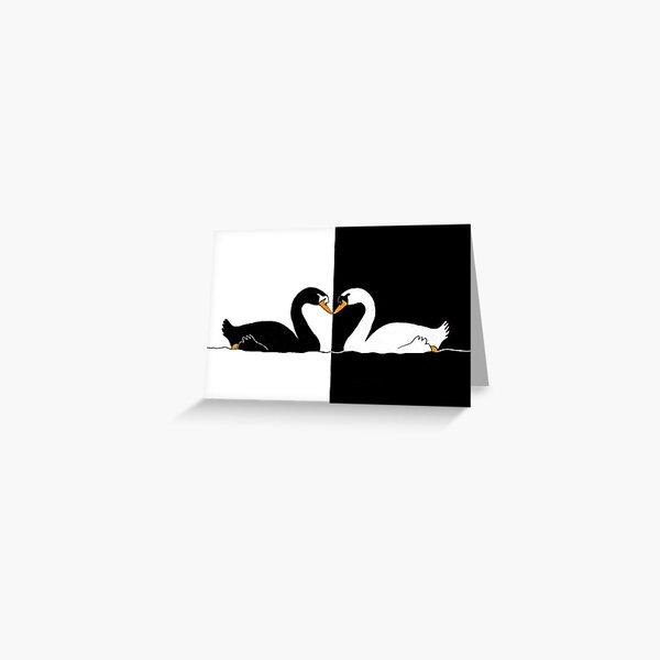 Black & White Swans Greeting Card