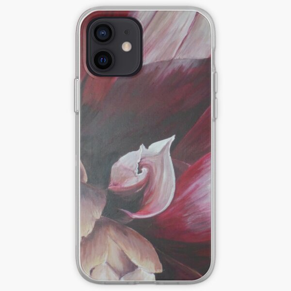 Red and White Dahlia iPhone Soft Case
