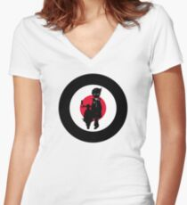 Mod Boy & Retro Scooter Women's Fitted V-Neck T-Shirt