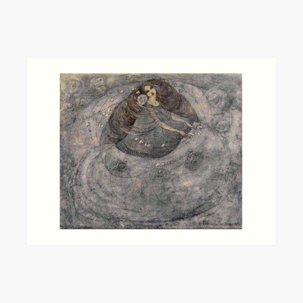 ESCUELA DE GLASGOW. Niña y mariposas. 1907. Frances Macdonald MacNair. Lámina artística