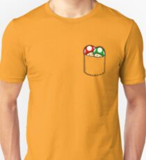 Red Green Mushrooms In Pocket Slim Fit T-Shirt