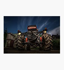 Tractor and Gas Station Photographic Print
