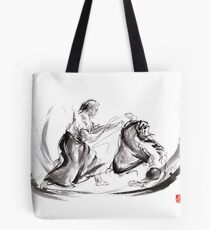 Aikido fight scenery martial arts drawing painting sketch art draw japan japanese school Tote Bag