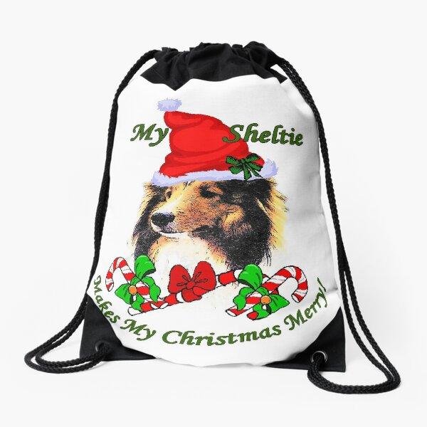 Shetland Sheepdog Christmas Gifts Drawstring Bag