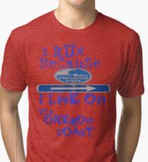 running on the Oregon Coast Tri-blend T-Shirt
