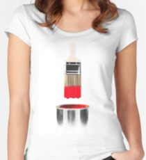 Brush Dipped in Red Paint T-shirt design Women's Fitted Scoop T-Shirt