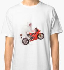 Kitty on a Motorcycle Doing a Wheelie T-shirt design Classic T-Shirt