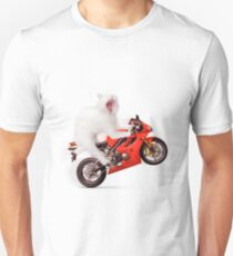 Kitty on a Motorcycle Doing a Wheelie T-shirt design T-Shirt