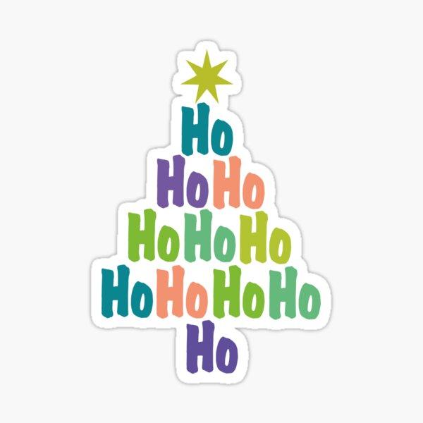 Ho Ho Ho Holiday Typography Tree Sticker