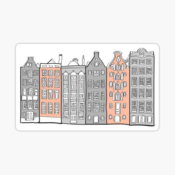 Old Amsterdam Canal Houses Sticker