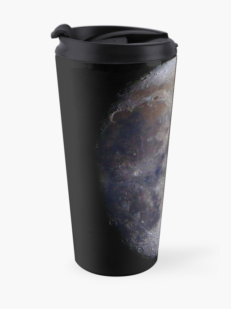 Alternate view of Gibbous Moon in saturated colour Travel Mug