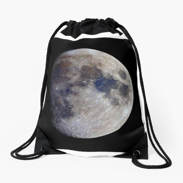 Gibbous Moon in saturated colour Drawstring Bag