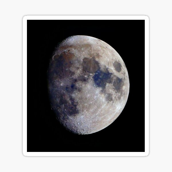 Gibbous Moon in saturated colour Sticker