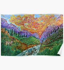 Alpine landscape with a deer (classical oil painting for posters and prints) Poster