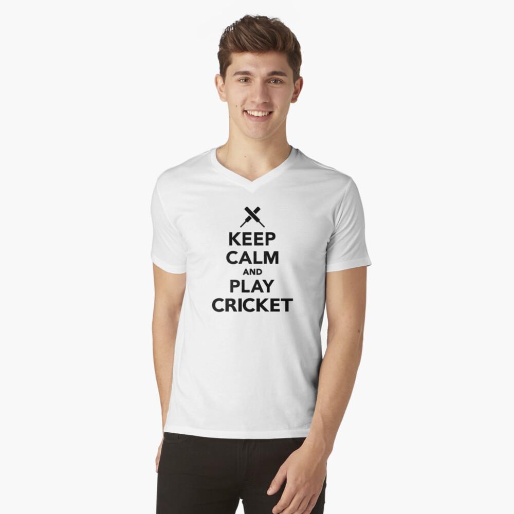 Keep calm and play Cricket V-Neck T-Shirt