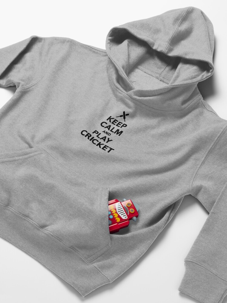 Alternate view of Keep calm and play Cricket Kids Pullover Hoodie