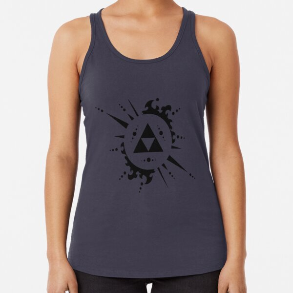 Triforce Black and White Racerback Tank Top