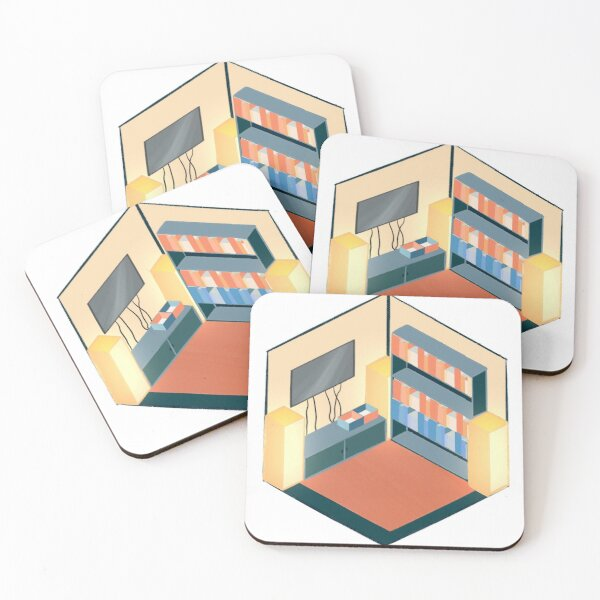 Blue and Peach Living Room Coasters (Set of 4)