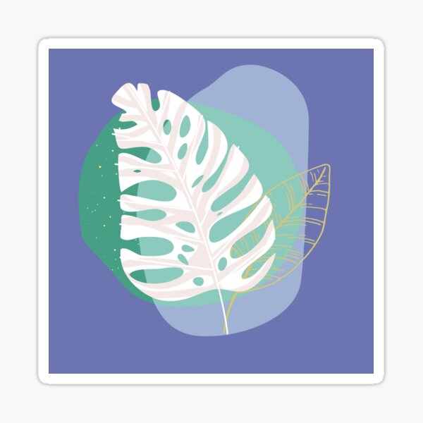 Abstract Monstera Leaf Layering with pastel green and blue elements Sticker