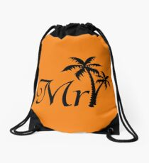 His and Hers Mr and Mrs Palm Tree Honeymoon Matching Bag Drawstring Bag