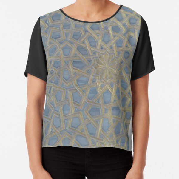 Worked Leather Stars Chiffon Top