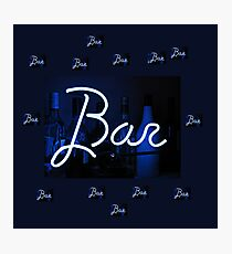 Bar neon blue sign  Photographic Print