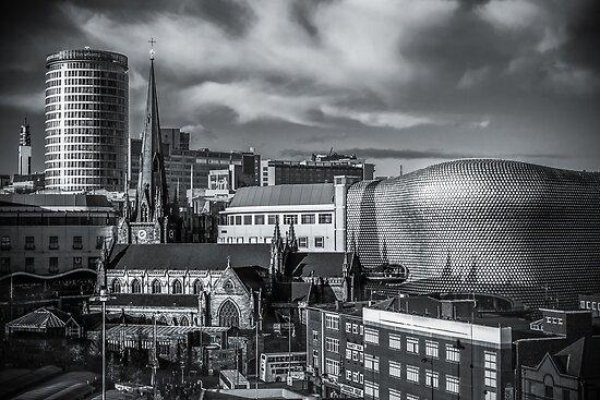 Quot Birmingham Cityscape Skyline Uk In Monochrome Quot Poster By