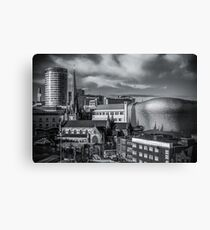 Birmingham Cityscape Skyline, UK in Monochrome Canvas Print