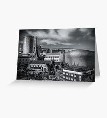 Birmingham Cityscape Skyline, UK in Monochrome Greeting Card