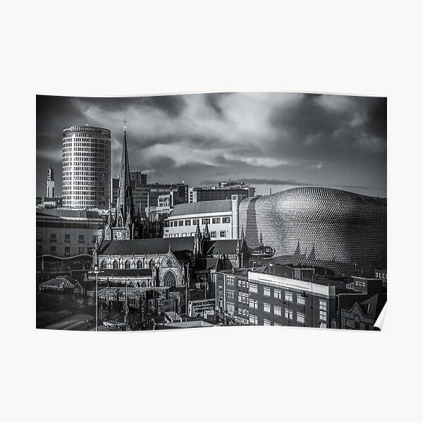 Birmingham Cityscape Skyline, UK in Monochrome Poster