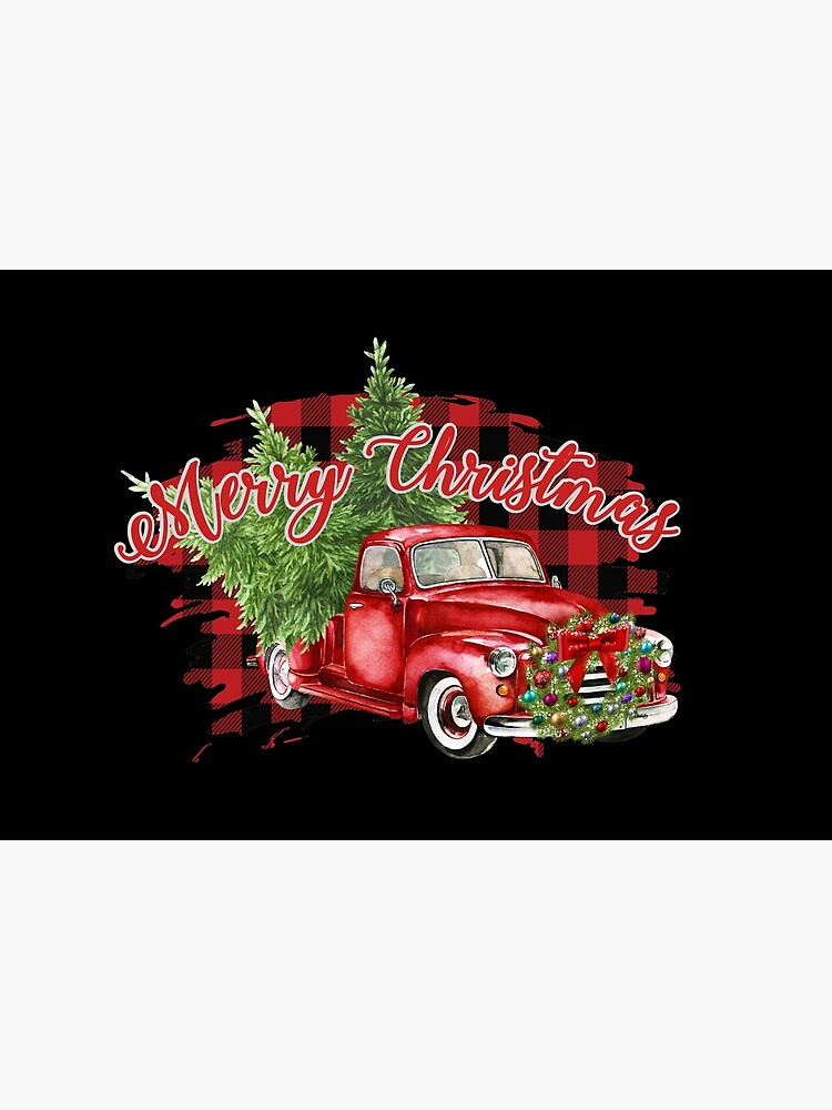 Red Truck Plaid Merry Christmas Bumper Sticker by diamondteez