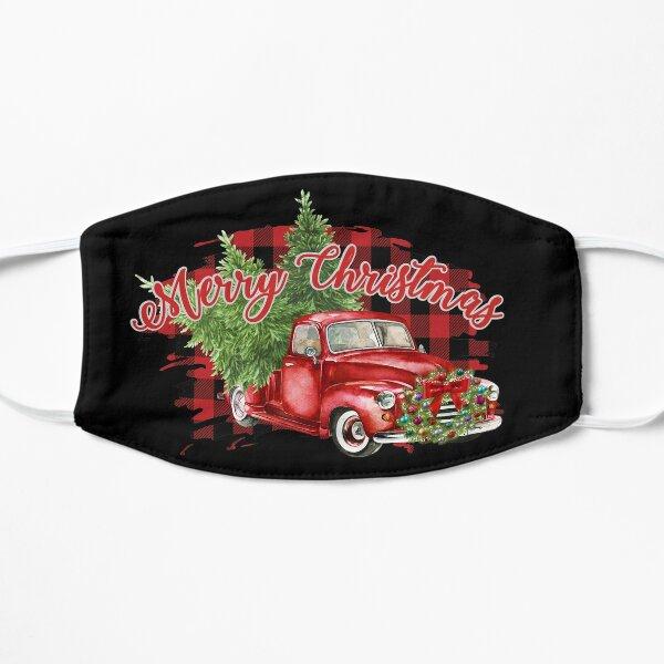 Red Truck Plaid Merry Christmas Bumper Sticker Flat Mask