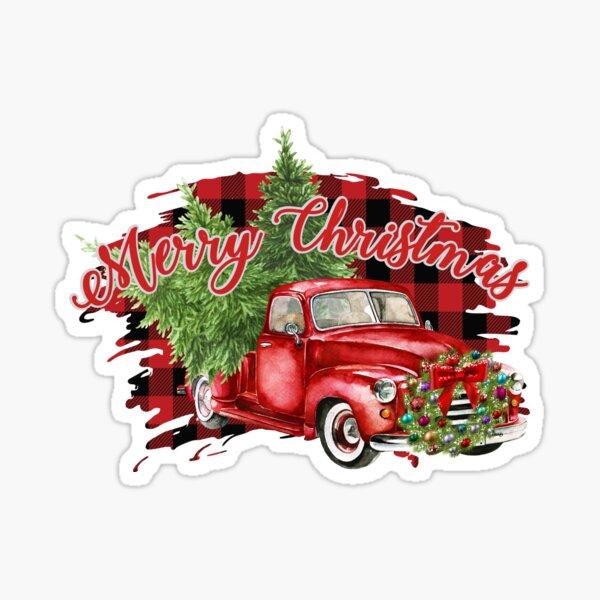 Red Truck Plaid Merry Christmas Bumper Sticker Sticker
