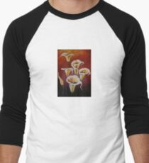 White Calla Lilies Men's Baseball ¾ T-Shirt