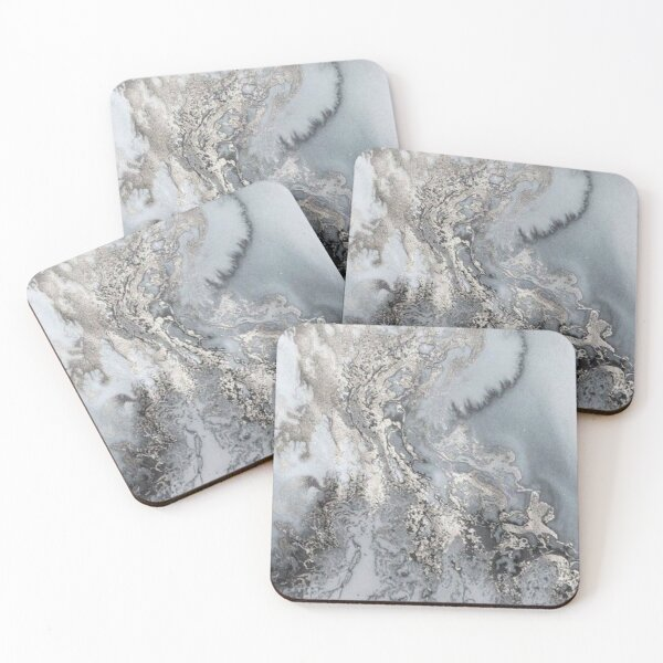 Grey and silver Marble Coasters (Set of 4)