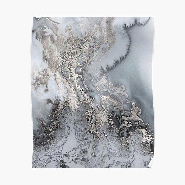 Grey and silver Marble Poster