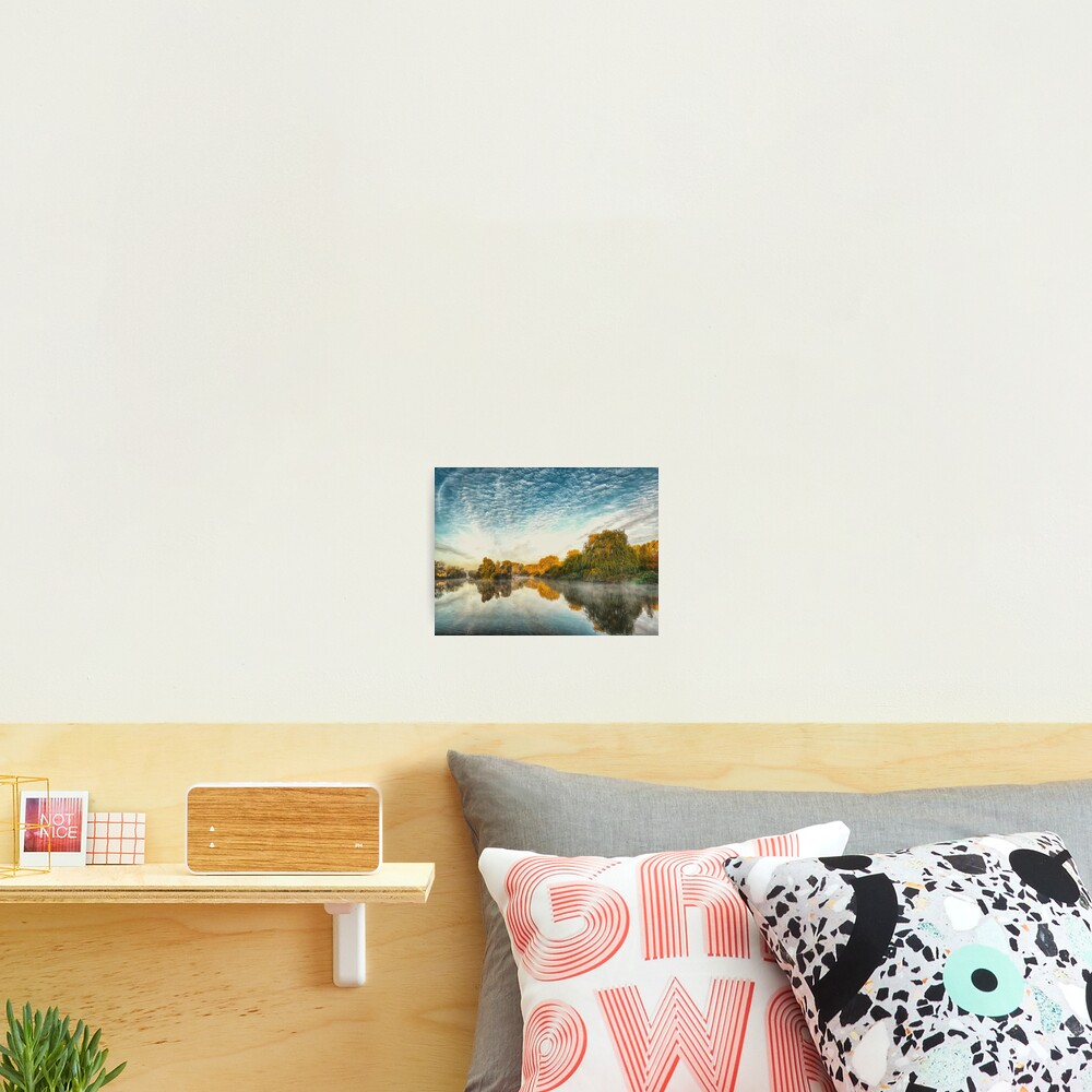 Misty morning at the lake  Photographic Print