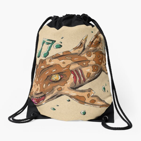 Music Horn Shark Drawstring Bag