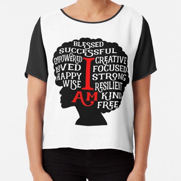Positive I Am Affirmations Afro Woman Chiffon Top
