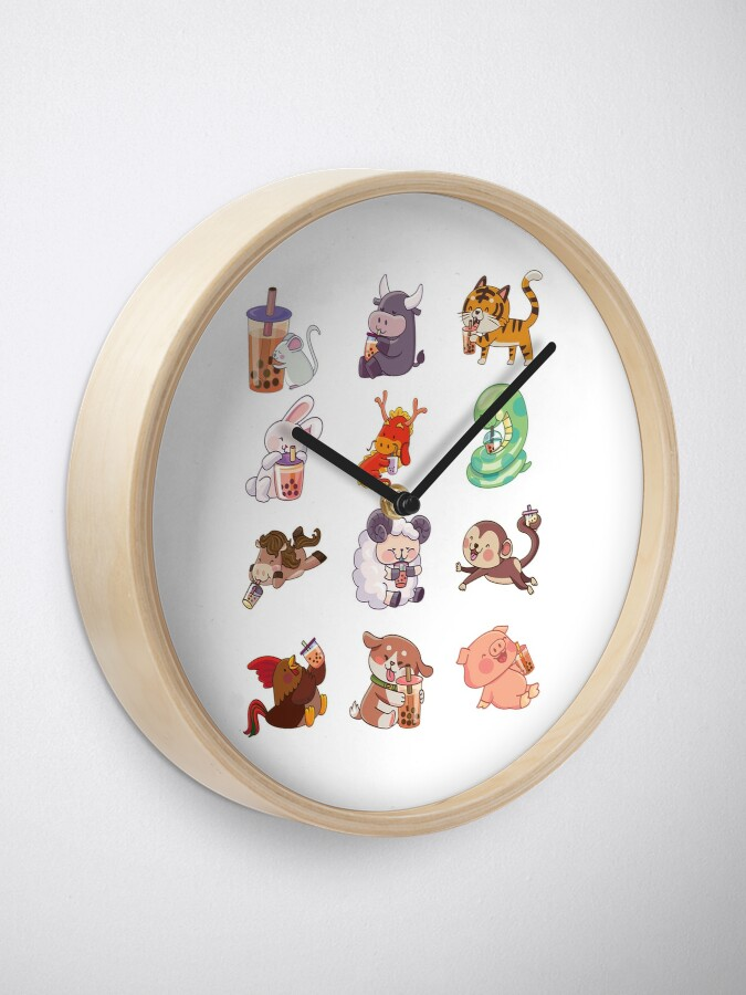 Alternate view of 12 Chinese Zodiacs sipping Boba Clock